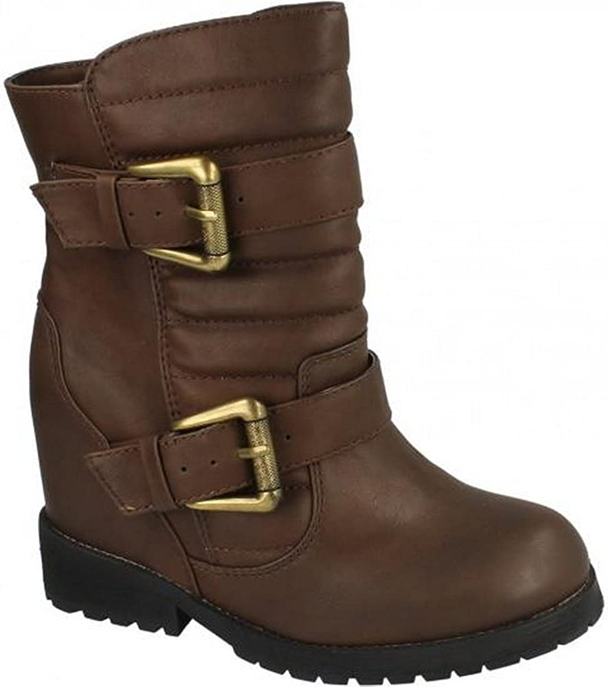 Spot On Womens//Ladies Quilted Chunky Heel Ankle Boots