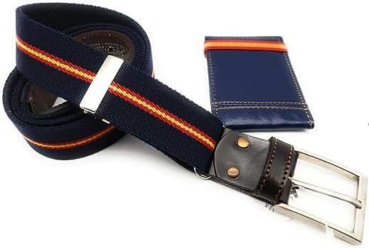crisandecor Cinturón hombre elástico ajustable y piel azul marino ...