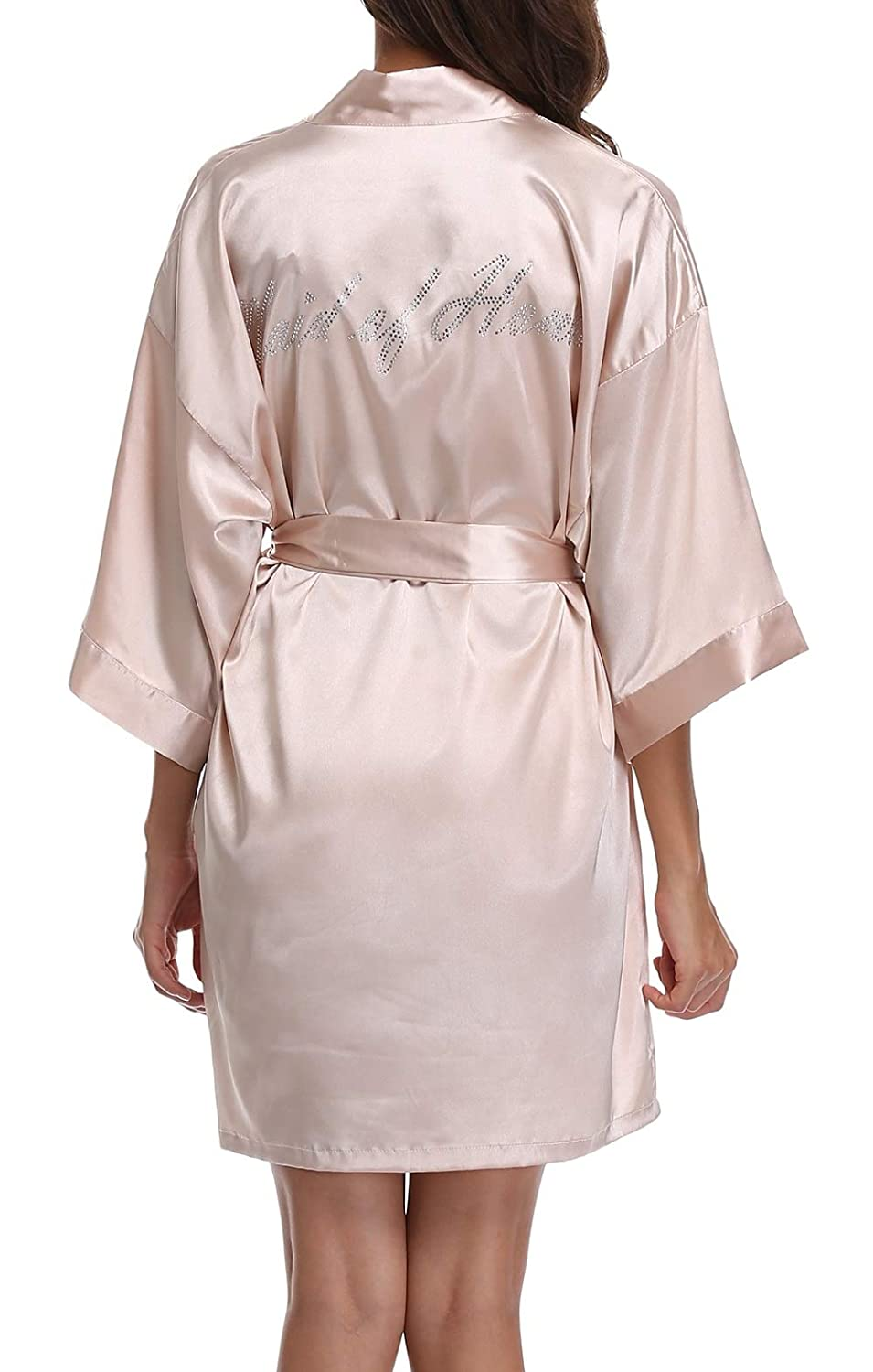 Champagne(maid of Honor) FADSHOW Bridal Robes Wedding Dressing Gowns with Rhinestones for Bride and Bridesmaids
