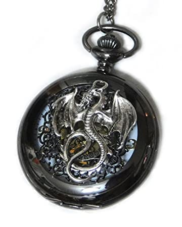Amazon dragon black pocket watch necklace pendant steampunk amazon dragon black pocket watch necklace pendant steampunk vintage victorian style retro pocketwatch dragon charms arts crafts sewing mozeypictures