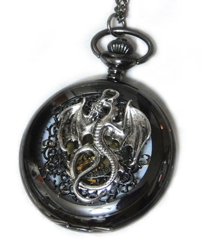 Dragon Black Pocket Watch Necklace Pendant - Steampunk Vintage Victorian Style Retro Pocketwatch Dragon charms