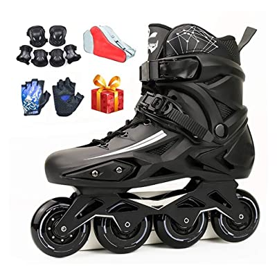 Sljj Adult Beginner White Inline Skates, 88A Wheel Professional Black Speed Roller Skates for Boys Girls (Color : Black, Size : 39 EU): Home & Kitchen