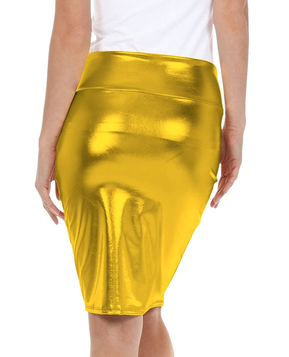 Sheface Girls Shiny Metallic High Waist Midi Pencil Skirt Clubwear