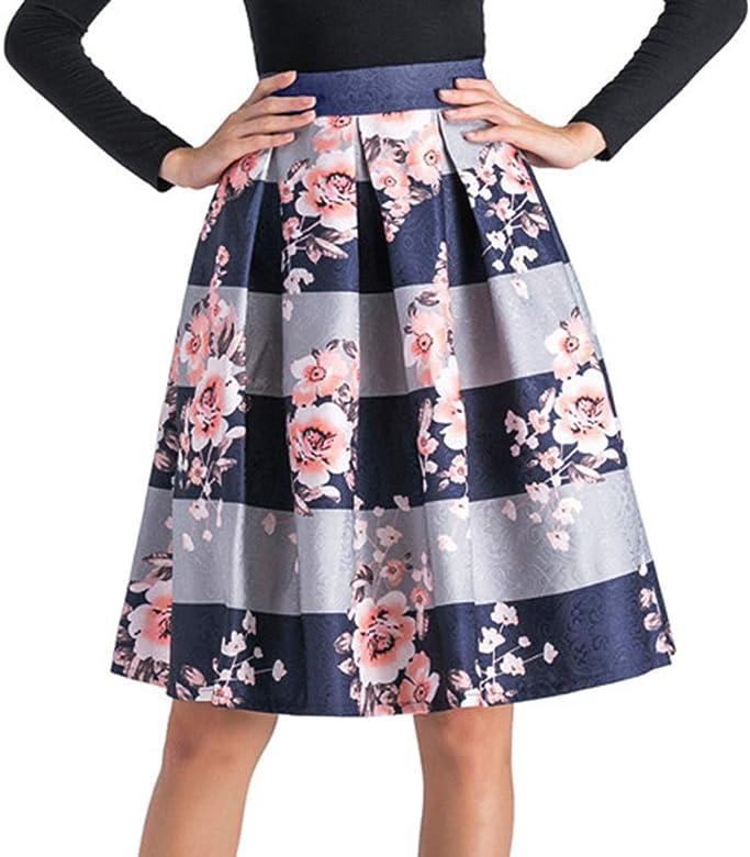 Yying Falda De Plisada Mujer Raya Estampada Floral Elegantes ...