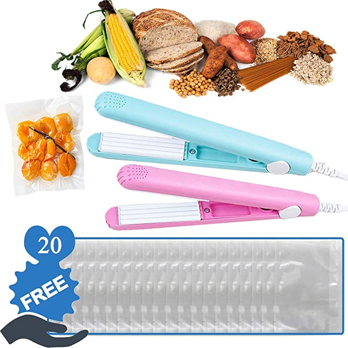2 pcs Mini Food Bag Portable Heat sealer Sealer with 20 Pieces Small Bags Handheld Smart Control Flat Suspension Heating Sheet for Airtight Food Storage