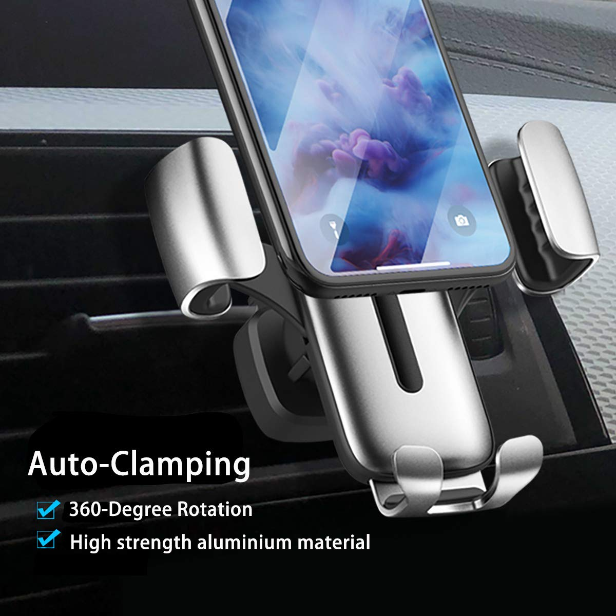 Car Cell Phone Holder One-Hand Operation Silver Gravity Cell Phone Mount for Car