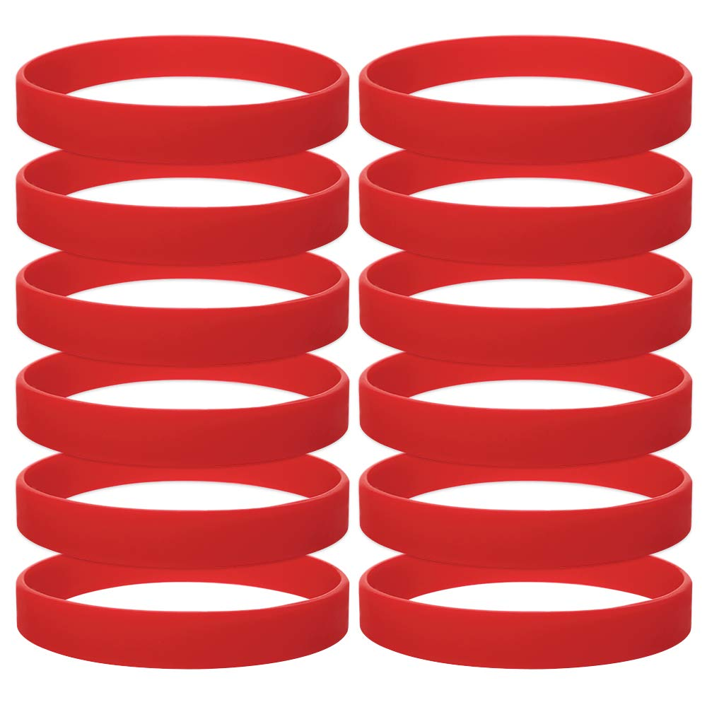 GOGO 12 PCS Silicone Wristbands, Adult Rubber Bracelets, Party Accessories-Red