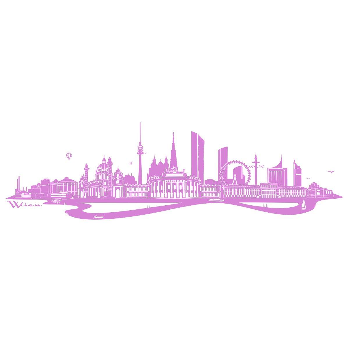 WANDKINGS Wandtattoo - Skyline Wien (mit Fluss) - 300 x 86 cm - Mittelgrau - Wähle aus 6 Größen & 35 Farben B078SGV7X2 Wandtattoos & Wandbilder