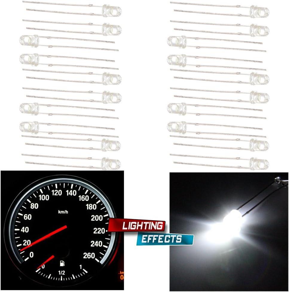 cciyu Pack of 20pcs 3mm 3V White LED Emitting Diode Bulbs Lamp