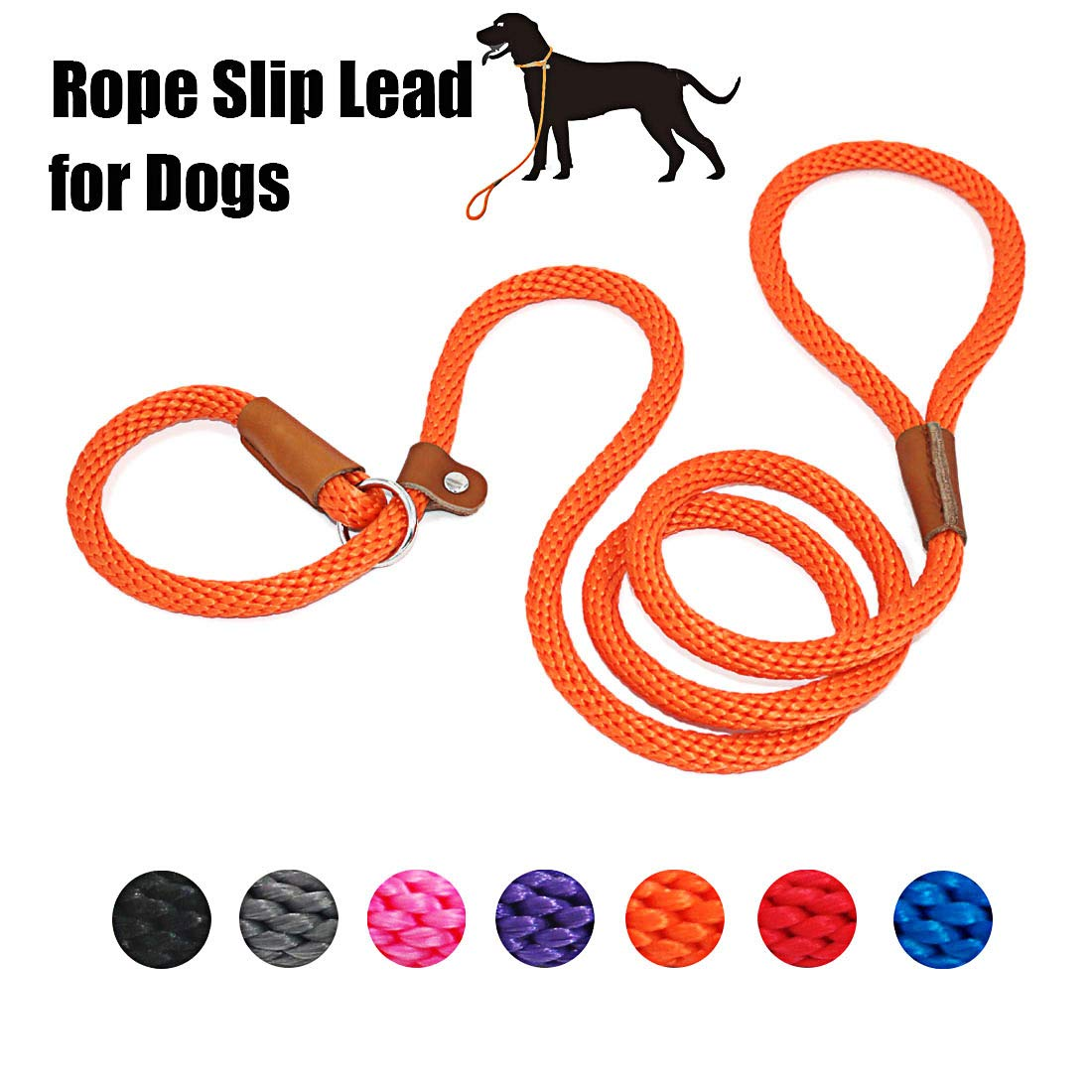 lynxking Dog Leash Rope Slip Leads Strong Heavy Duty No Pull Training Lead Leashes for Medium Large Dogs (5', Orange) by lynxking