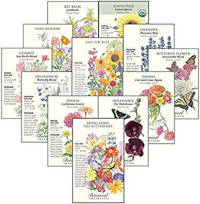 "Botanical Interests ""Bees, Butterflies, and Hummingbirds"" Flower Seed Collection - 12 Packets with Gift Box"