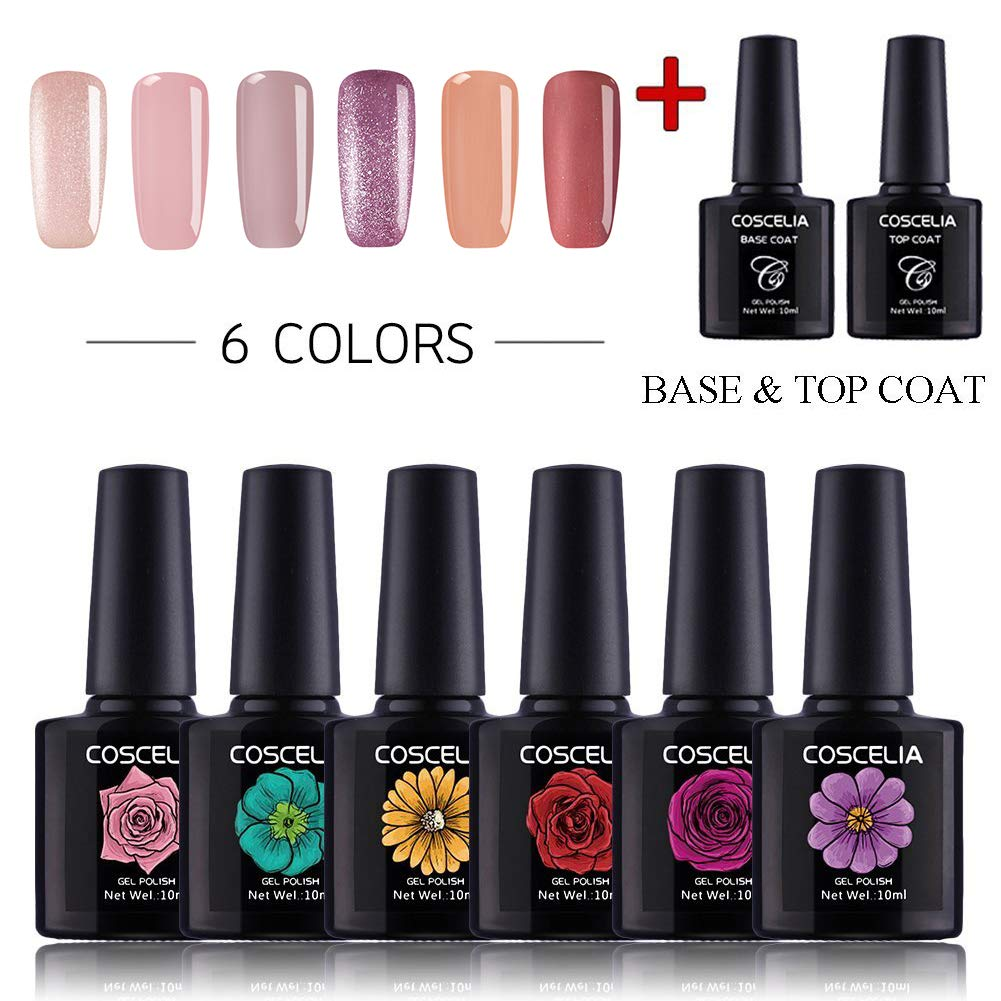 Coscelia Gel Nail Polish Set Soak Off UV Led Nail Varnish 6pcs Start Kit Nail Art Manicure with Top Base Coat beautygrilstore