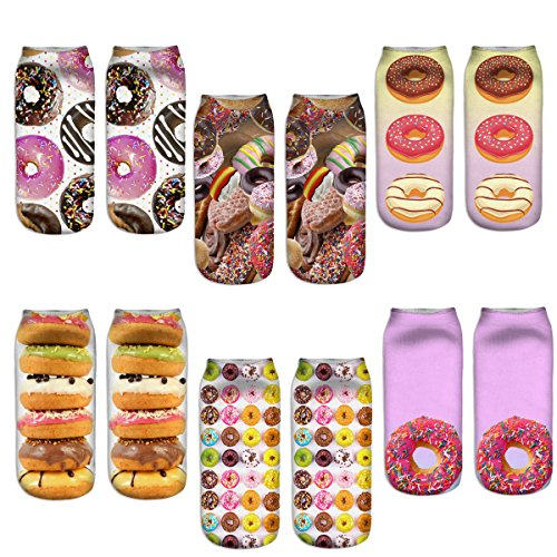 Womens Girls 3D Novelty Colorful Funny Crazy Food Ankle Socks, Crazy Cute Donuts Low Cut Socks 6 Value Pack -