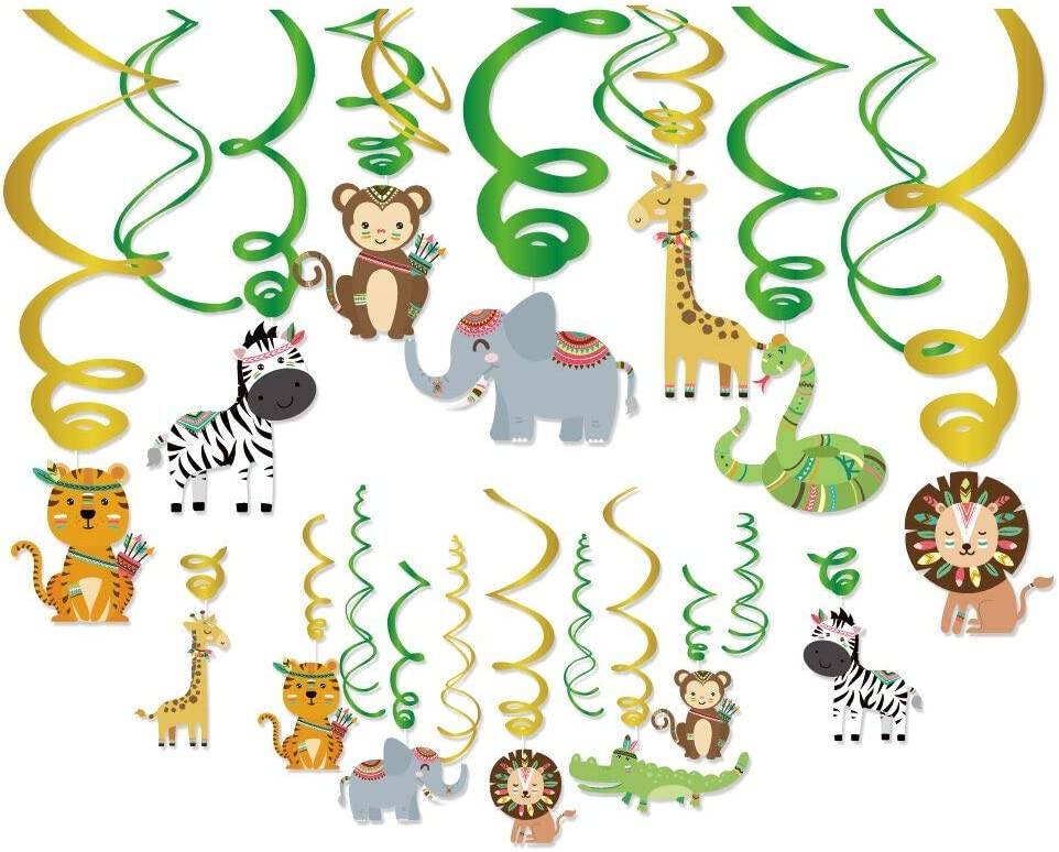 30Ct Safari Animals Hanging Swirl Decorations,Jungle Animals Party Supplies, Wild One Birthday Themed Decor for Boys Girls Baby Shower, Tribal Animals 1st Bday Favors