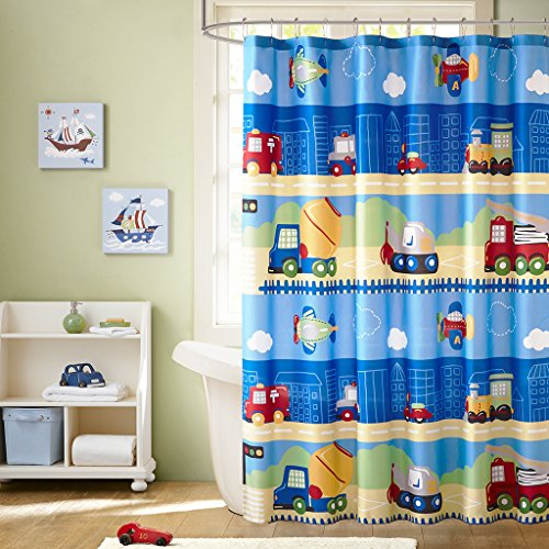 Mi-Zone Mizone MZK70-091 Kids Totally Transit Printed Shower Curtain 72x72 Multi, (Mizone Shower Curtain)
