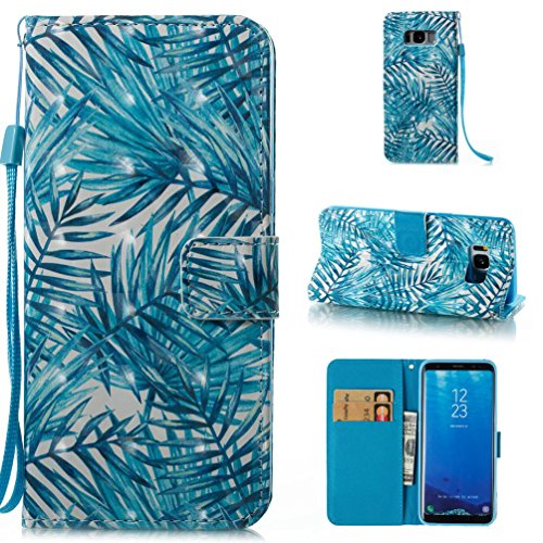 Galaxy S8 Wallet Case,Firefish TPU [Slim Fit] Magnetic Closure Case Folio Flip Kickstand Card Slots Holder Cover[Wrist Strap] Cash Full-Body Protective Cover for Samsung Galaxy S8 (5.8 Inch)-Leaves