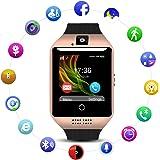 Smart Watch QIMAOO Q18 Smart Watch Reloj Inteligente Bluetooth HD Pantalla, Análisis de Sueño, Podómetro, Reloj Inteligente con Cámara y TF / SIM Ranura para Tarjeta para Hombres Mujeres (Oro)
