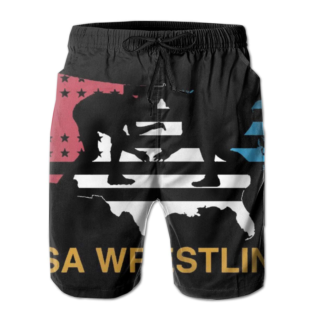 Comfortable Beach Shorts with Pockets Yt92Pl@00 Mens 100/% Polyester USA Flag Wrestling Beachwear