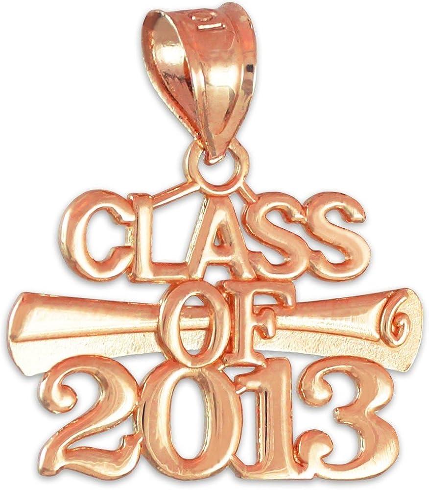 10K Rose Gold CLASS OF 2013 Graduation Pendant