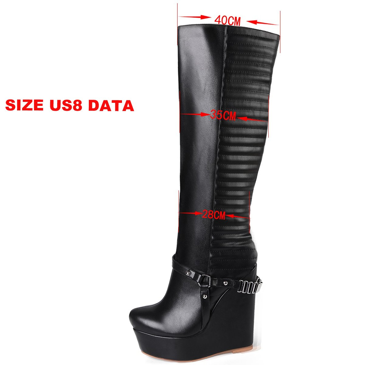 onlymaker Women's Fashion High Wedge Heel Fashion Knee High Boots Handmade for Wedding Party Dress Shoes B076QCCZCY 10 B(M) US|Black