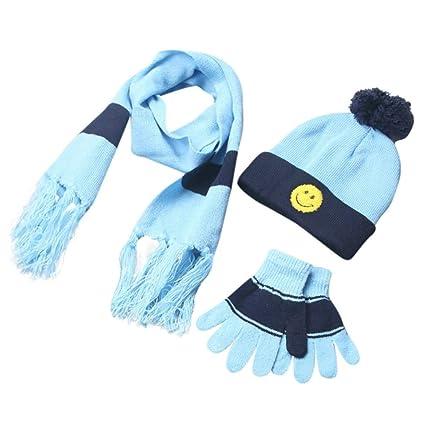 8e3ce2a52e0 Amazon.com  Kids Toddler Gloves and Hat Set Scarf+Gloves+Hats Baby Boy  Girls Winter Warm Kit (Sky Blue)  Arts