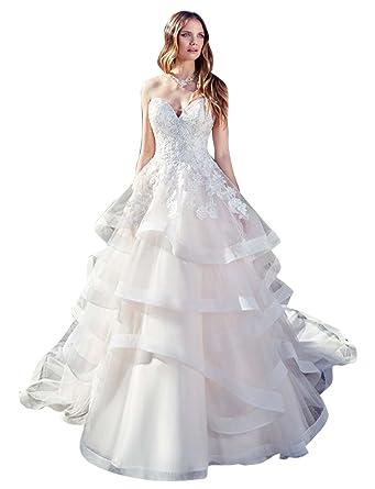 Glamour Robe Princesse de Mariée pour Mariage Longue Traîne 2018 Bustier  Col Cœur Multicouche en Dentelle