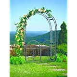 "Plow & Hearth Montebello Garden Arbor With Gate - Tubular Iron - Burnished Bronze Finish - 54""W x 23""D x 84""H"