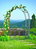 Plow and Hearth Montebello Garden Arbor Trellis with Gate, Tubular Iron, Burnished Bronze Finish, 54 in W x 23 in D x 84 in H