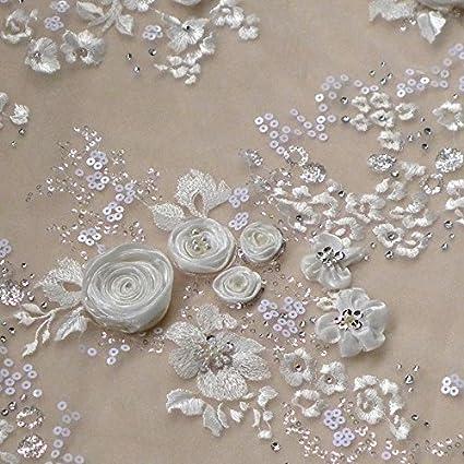 1a4b7f7f70 Amazon.com: Off white 3D Rose flowers evening dress fabric 51 inhces ...