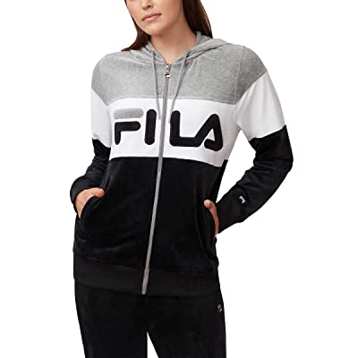 Fila Ladies' Velour Hooded Jacket, Variety (M, Black Grey) at Women's Clothing store