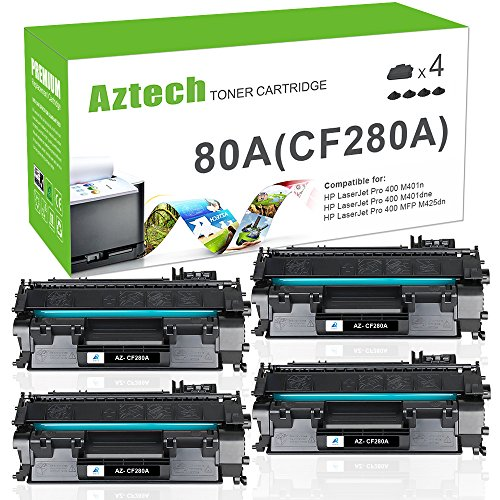 Aztech Compatible Toner Cartridge Replacement for HP 80A CF280A 80X Canon 119 HP Laserjet Pro 400 M401n M401dne HP Laserjet Pro 400 MFP M425dn Canon ImageClass MF414dw MF416DW Printer(Black, 4 Pack)