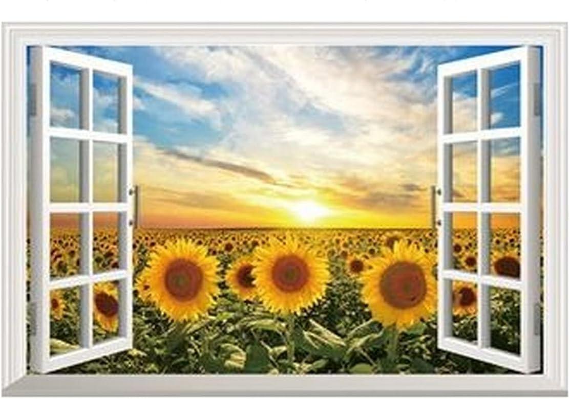 Amazon Co Jp Plus Nao プラスナオ ウォールステッカー 壁紙シール 3d 立体的 トリックアート だまし絵 ひまわり 窓枠 ウィンドウ 景色 風景 向日葵 お 服 ファッション小物