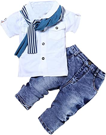 ZLOLIA Baby Clothes Autumn Winter Kids Boys Short Sleeve T Shirt Tops Scarf Trousers Outfits 2T, White