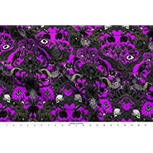 Haunted Fabric This Is Halloween! Haunted House Damask ~ Lurid Purple ~ Medium by Peacoquettedesigns Printed on Basic Cotton Ultra Fabric by the Yard by Spoonflower