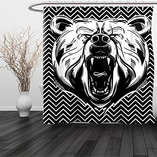 HAIXIA Shower Curtain Bear Aggressive Animal Dangerous Expression Scary Roaring Mammal on Zigzag Pattern Black White - Boston Red Sox Nutcracker