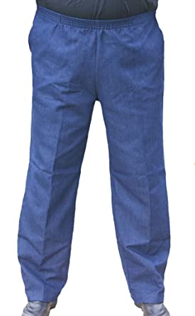 b5c9b41a2c CK Sportswear The Senior Shop Men's Full Elastic Waist, No Zipper, Buttons  Loops Pull On Denim Jeans at Amazon Men's Clothing store: