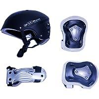 Rollerface Set de Protecciones para Patinar con Casco, para Adulto, Color Negro
