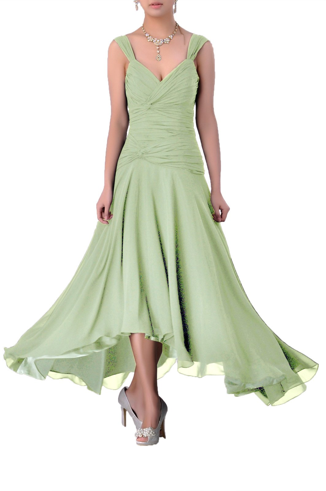 1db3c429674d1 Mother of The Bride Groom Dress Tea Length Formal Chiffon Special Occasion  Bridesmaid, Color Sage,22W