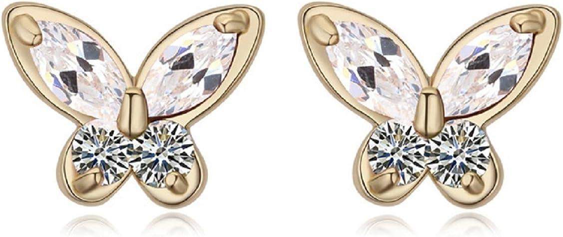 Chapado en oro 18 ct –Pendientes de tuerca Crystals from Swarovski mariposas, color blanco nuevo