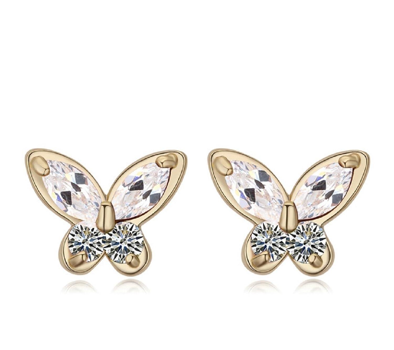 Chapado oro ct –Pendientes de tuerca Crystals from Swarovski mariposas color blanco