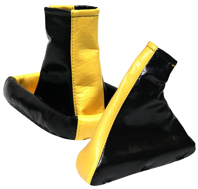 AERZETIX - Soufflet levier de vitesse frein à main jaune+noir