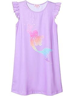 QPANCY Nightgown for Girls Princess Nightdress Cotton Sleepwear Pajamas Dress