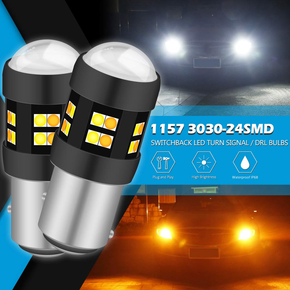 KaTur 3157 3047 3057 3155 3156 Switchback LED Bulbs White//Yellow High Power Super Bright 3030 Chipsets with Projector for Turn Signal Lights and Daytime Running Lights//DRL with 50W 8ohm Load Resistors