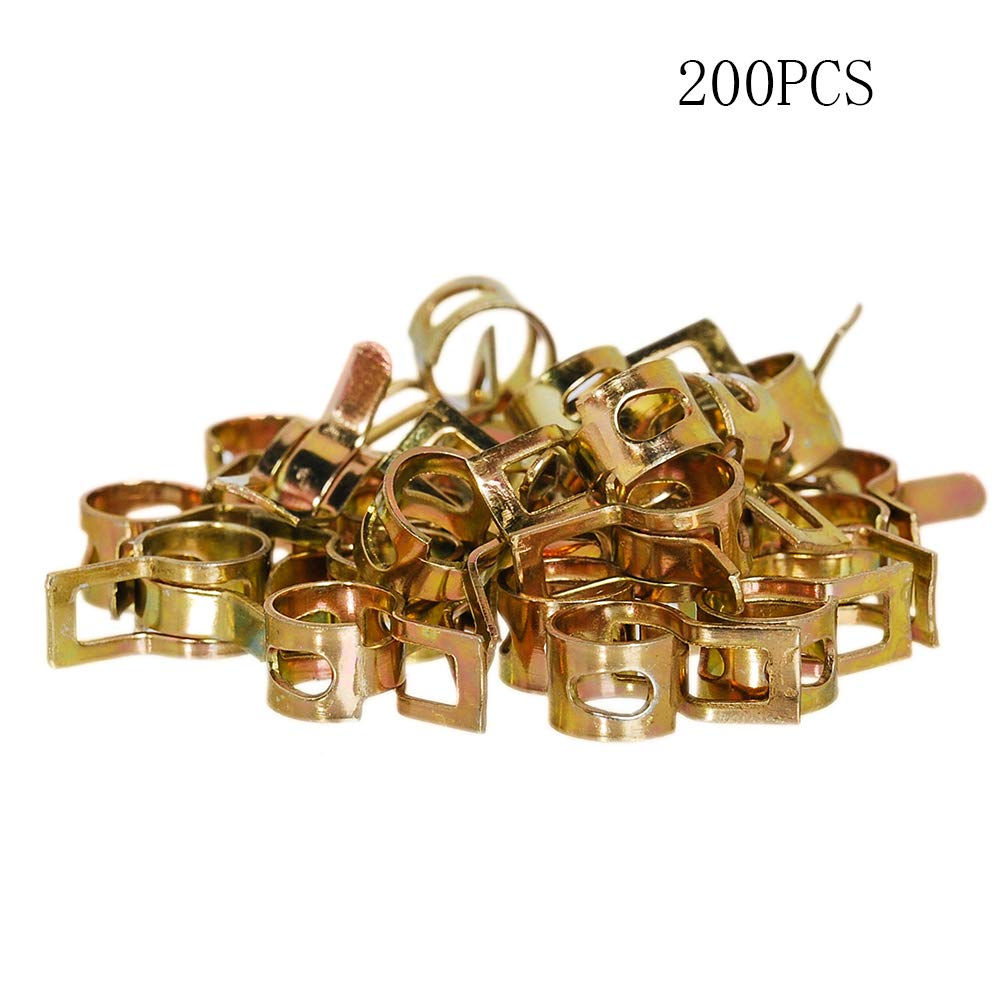 Pack of 200 Spring Band Type Clips Air Hose Tube, Water Pipe Fuel Pipe Silicone Vacuum Hose Clamp, Fasteners Assortment Kit (5mm 6mm 7mm 8mm 9mm 10mm 11mm 12mm)