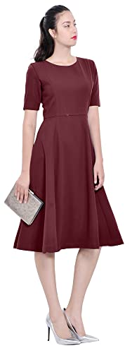 Marycrafts Womens Modest Fit Flared Work Office Lined Midi Dress