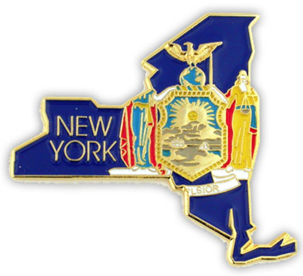 PinMart's State Shape of New York and New York Flag Lapel Pin