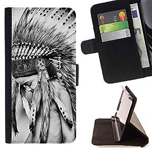 King Art - Premium-PU-Leder-Prima caja de la PU billetera de cuero con ranuras para tarjetas, efectivo Compartimiento desmontable y correa para la mu?eca FOR Samsung Galaxy S3 III I9300 I9308 I737- American Indian Red Indian Feather Skull head Skull