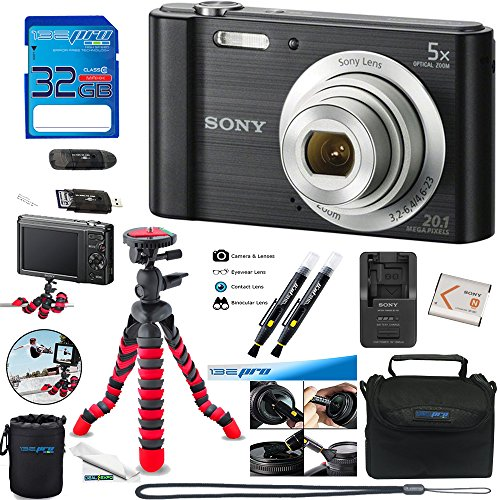 Sony W800 (Black) + 32GB Memory Card + Expo-Basic Accessory Bundle