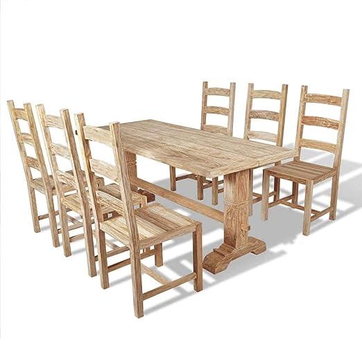 Xinglieu 7 Piezas Set Grande Mesa y sillas de Comedor de Teca ...