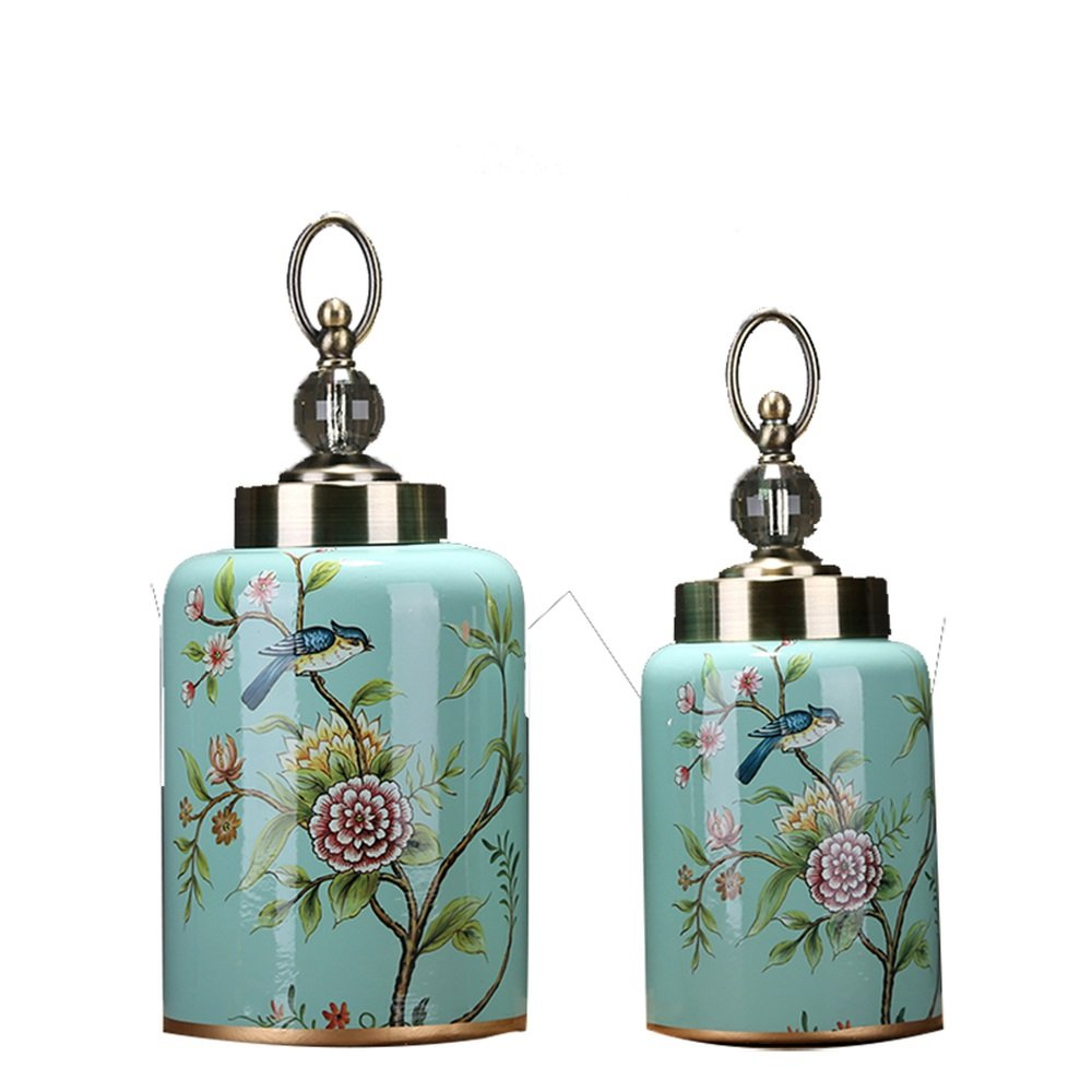 LXYFMS European Style American Country Garden Square Clay Pot Soft Crafts Home Living Room Antique Ceramic Jewelry Crafts (Color : 2 PCS)